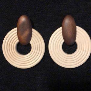 Handmade Wooden Straw Weave Earrings